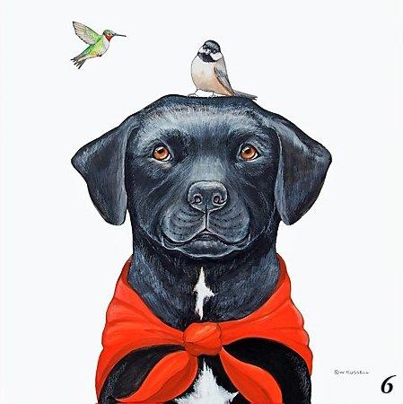 Bird Dog Head With Chickadee and Hummingbird