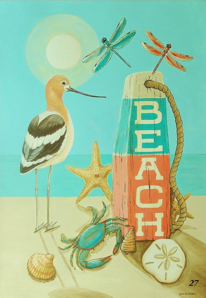 Beach Buoy with Shore Bird