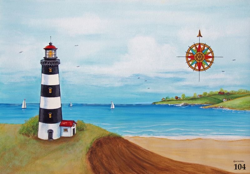 Black and White Striped Lighthouse Scene