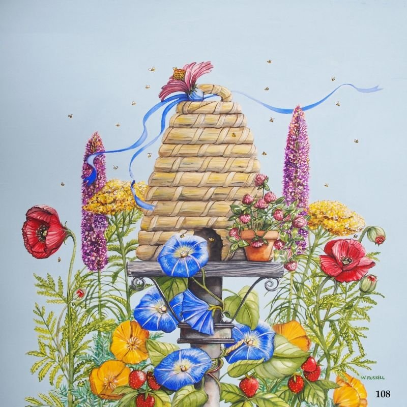 Bee Skep with Flowers
