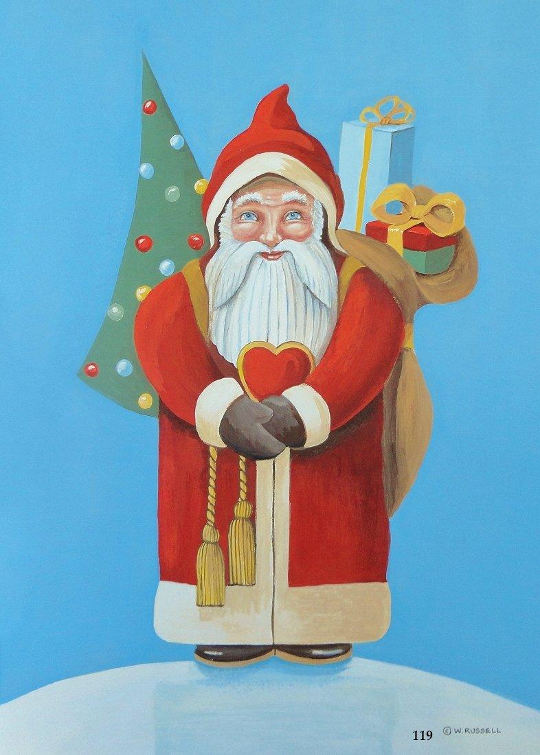 Folk Art Style Santa with Heart