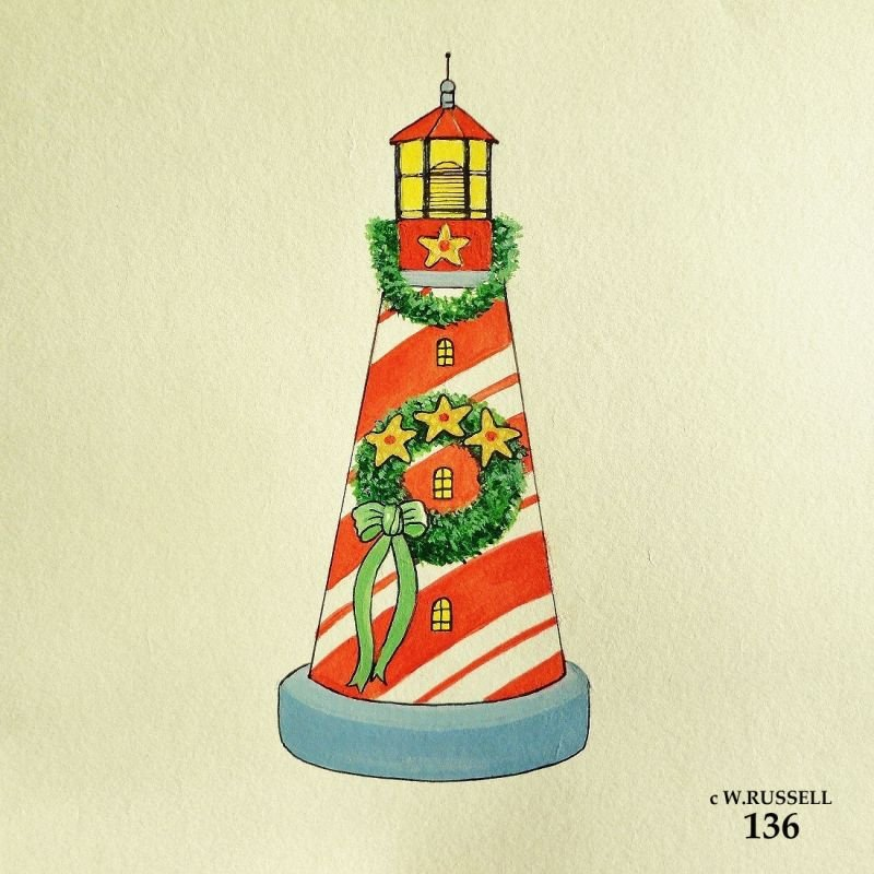 Peppermint Lighthouse Holiday Ornament Concept