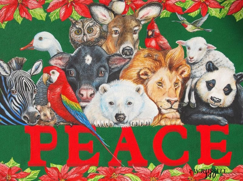 PEACE Holiday Sign with Animals