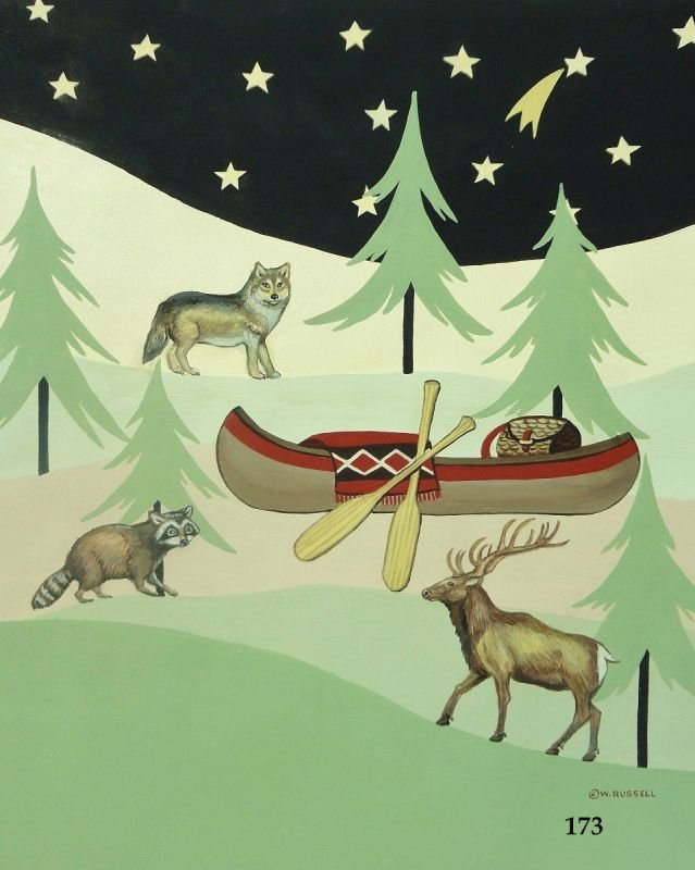Lodge Style Canoe and Forest Animals