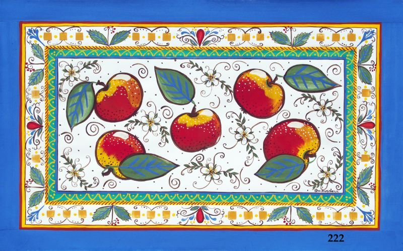 Italian Style Overall Apples with Blue Border