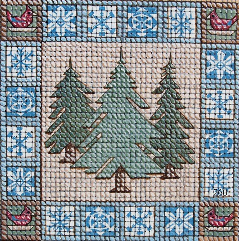 Holiday Needlepoint Style Pine Trees