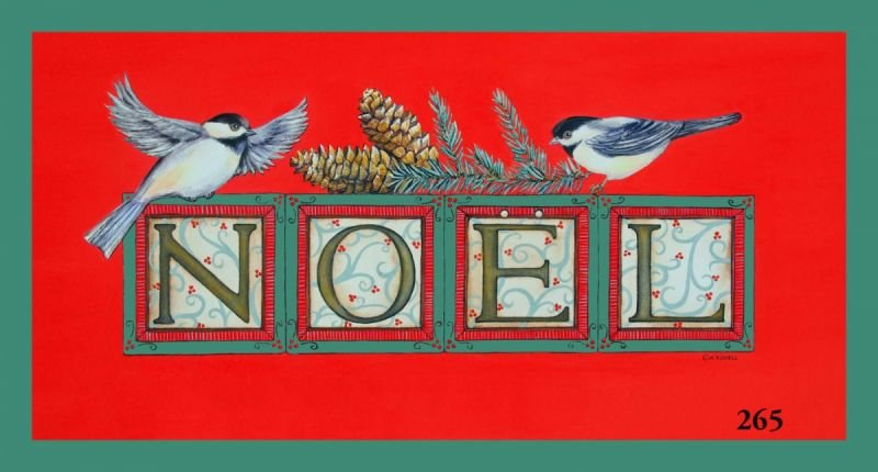 Holiday Noel Chickadees on Red