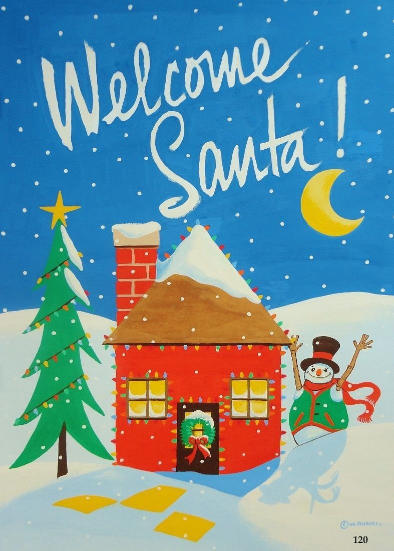Holiday Welcome Santa Paint on Paper