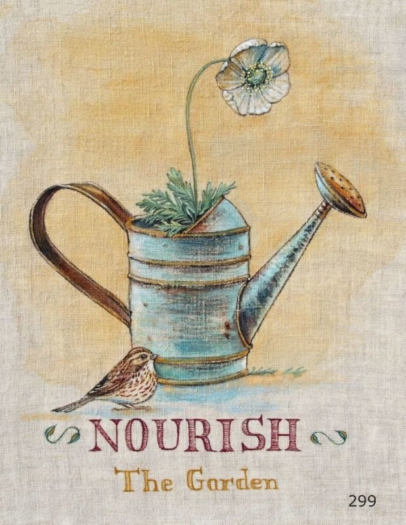 Gardening Series on Linen Nourish the Garden