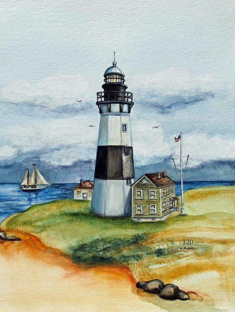 Lighthouse Black and White Montauk Point Long Island NY