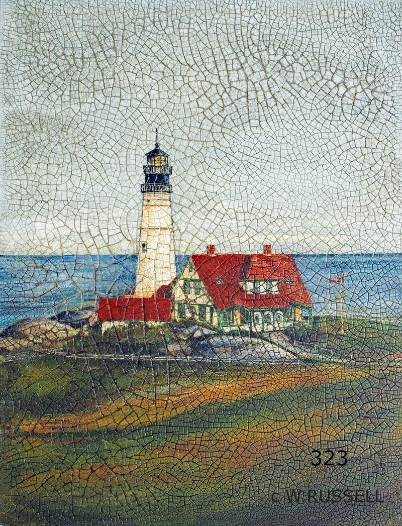 Crackled Lighthouse Portland Maine