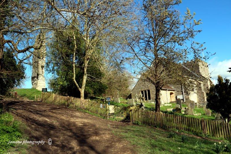 St Nicholas Church and Bramber Castle ruin