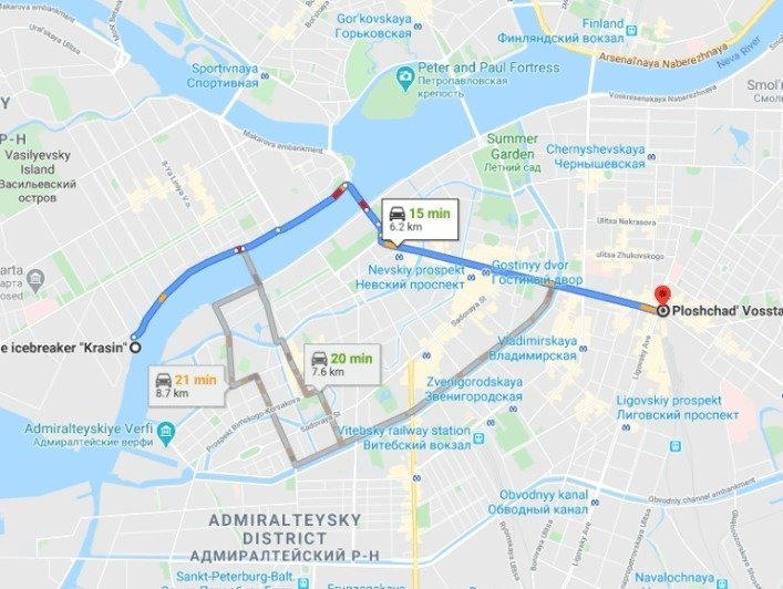 St Petersburg Taxi ride to Vosstaniya Square from Vasilyevsky Island via Nevsky Prospect