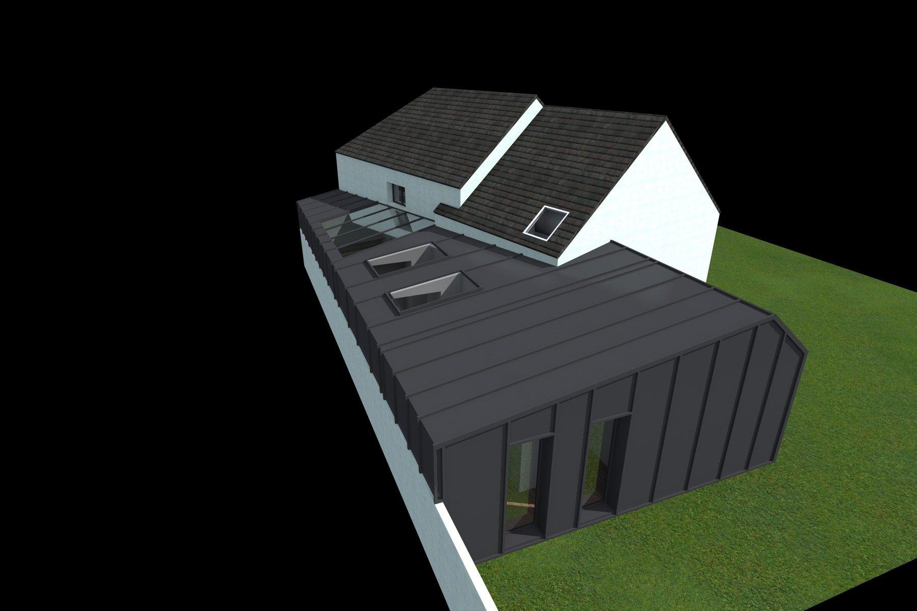 Maison Ossature Métallique Contemporaine extension ossature metallique et zinc d'une maison de