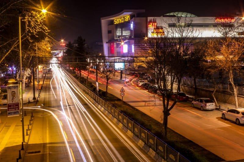 light trails street