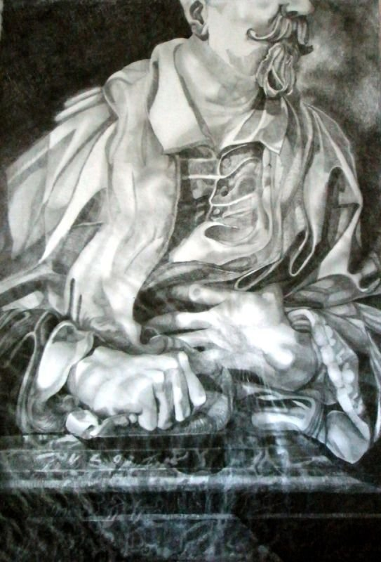 Pencil and Tissue paper study, 420 x 600mms, included in a solo exhibition in Rome, Italy