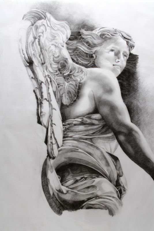 Pencil and Tissue paper study of an Angel,  H59 x W38 cms, part of a larger solo exhibition in Hannover, Germany