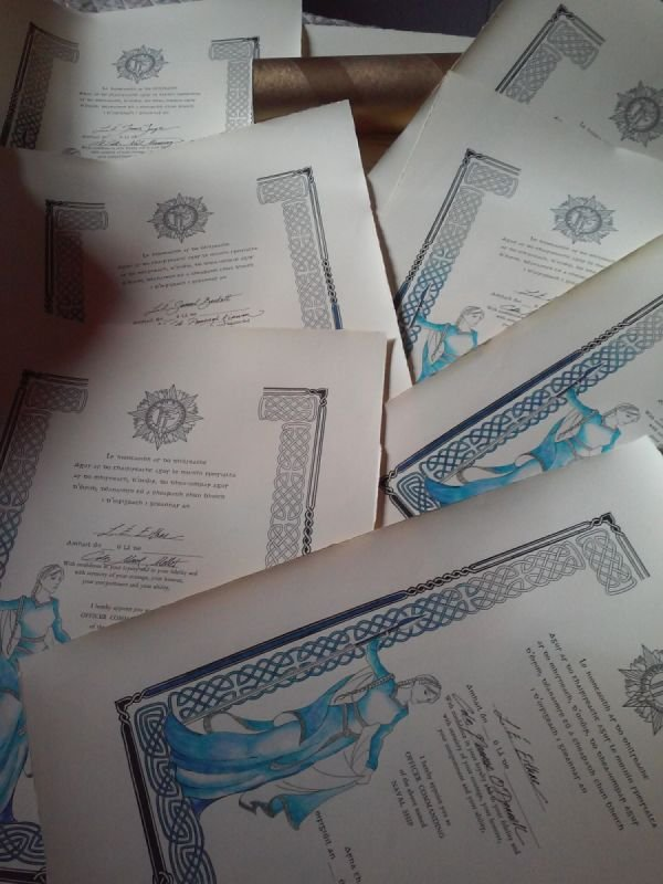 Ship Command Certificate for the Irish Navy, archival paper and inks, letterpress print in garamond and gaelic typefaces